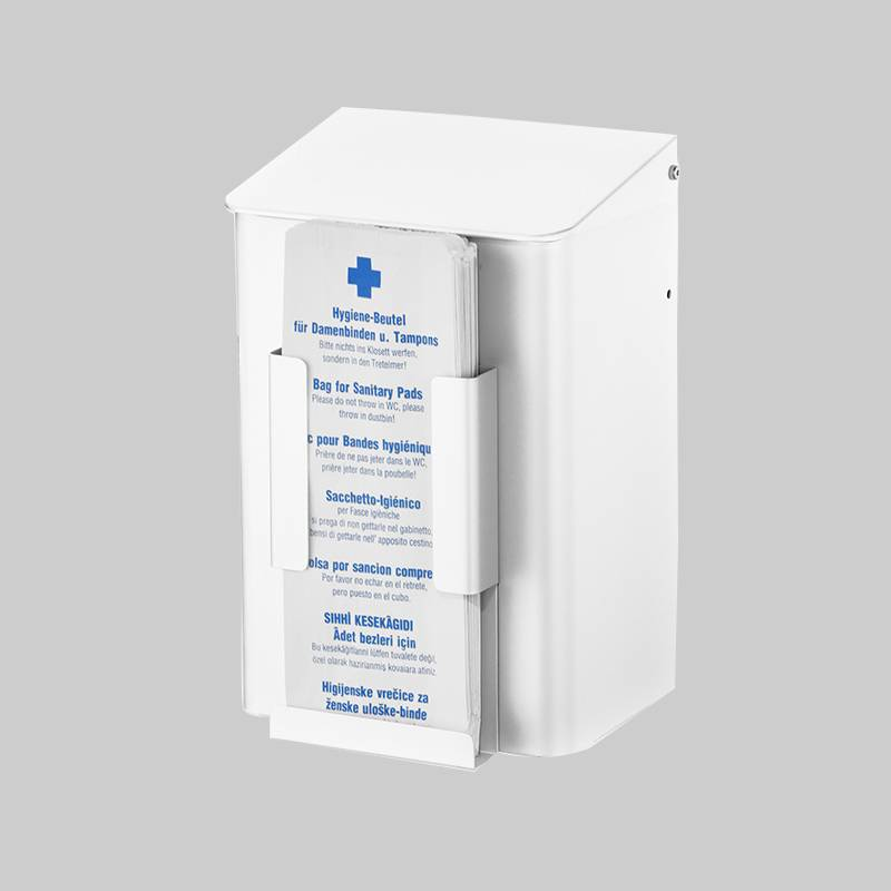Hygiene waste garbage can with bag dispenser aluminium white